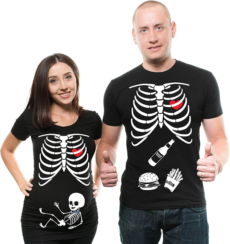 Skeleton X-ray Maternity Tee Shirt Baby Boy Maternity T-Shirt Pregnancy Shirt Couple Matching tees Halloween Costume t-Shirts