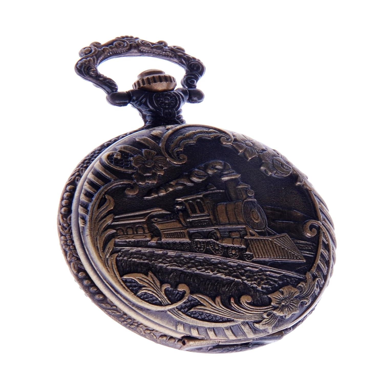 bb0bd4ca4 Amazon.com: Railroad Train Pocket Watch With Chain Quartz Arabic Numerals  Vintage Locomotive Design PW-41: ShoppeWatch: Watches
