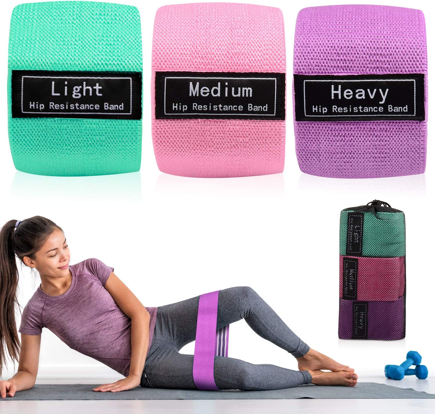 YF Funyole Exercise Resistance Bands for Legs and Butt, Hip Circle Bands for Squat Glute Training, Workout Exercise Booty Bands with Carry Case for Women Indoor Fitness (3 Set)