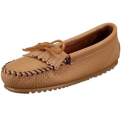 Minnetonka - Mocasines de cuero para mujer, color beige, talla 36: Amazon.es: Zapatos y complementos