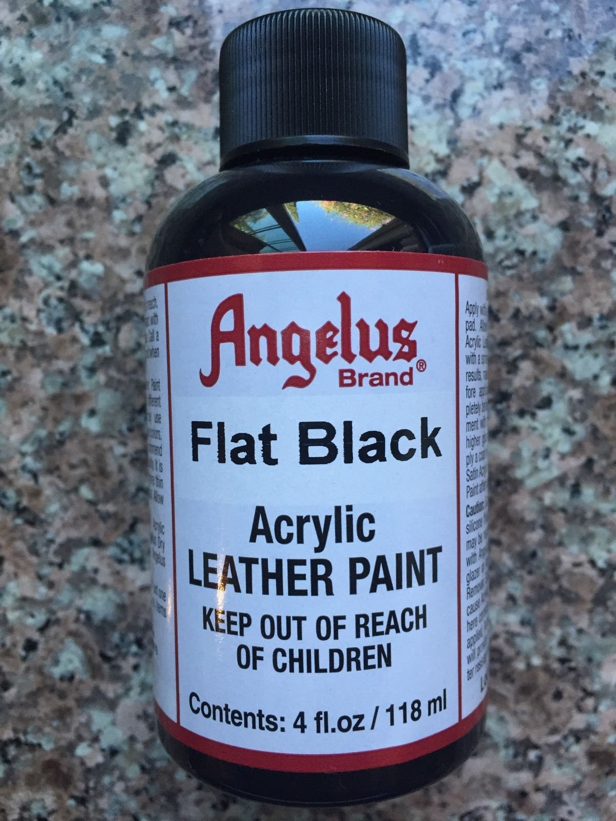 (Ship from USA) Angelus Flat Black acrylic leather paint in 4oz bottle *GWE849F EP-21RT17753
