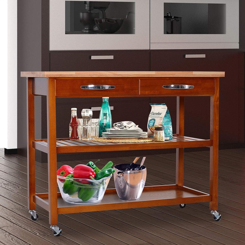Amazon.com - Caraya 3-Tier Rolling Kitchen Trolley Island ...
