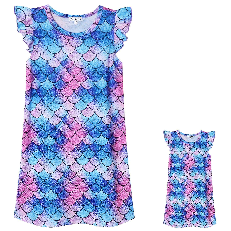 Jxstar Nighggowns for Girls Pajamas Princess Sleepwear Flutter Sleeve Dress
