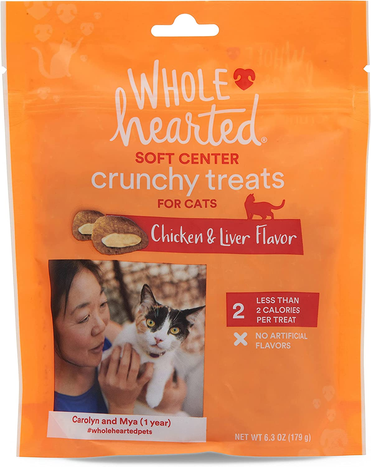Petco Brand - WholeHearted Soft Center Crunchy Chicken and Liver Flavor Treats for Cats, 6.3 oz.
