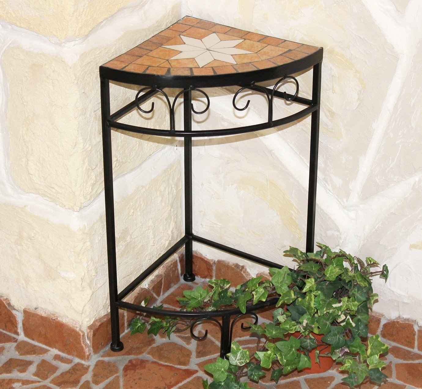 Merano 12013 Flower Stand / Corner Table with Mosaic Tabletop 52cm DanDiBo