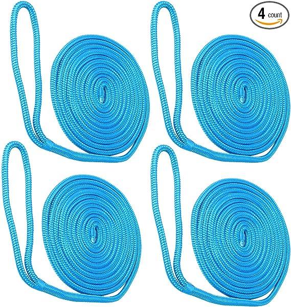 4PCS Amarine-made Docklines 1//2/'/' 15/' For Boat Double Braid Nylon Blue