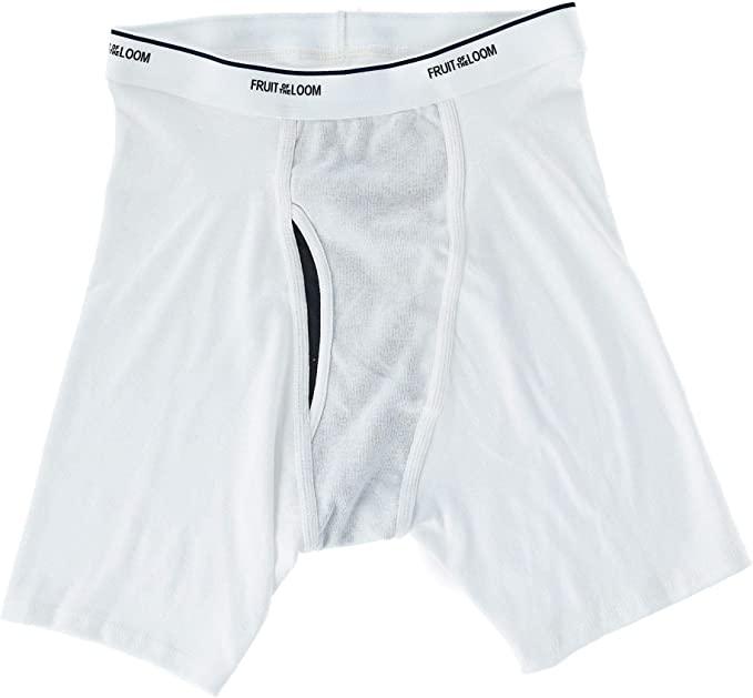 Fruit of the Loom Mens 4Pack White Boxer Briefs 100/% Cotton Underwear