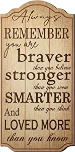 Jetec Rustic Wood Wall Decor Always Remember You are Braver Than You Think Small Fence Post Wood Look Decorative Sign Inspirational Plaque Positive Wall Plaque Pallet Saying Quotes for Home Decor
