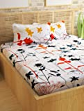 Story@Home Metro Mercerized Collection 182 TC Cotton Printed 1 Double Bedsheet and 2 Pillow Covers Set - Floral, White