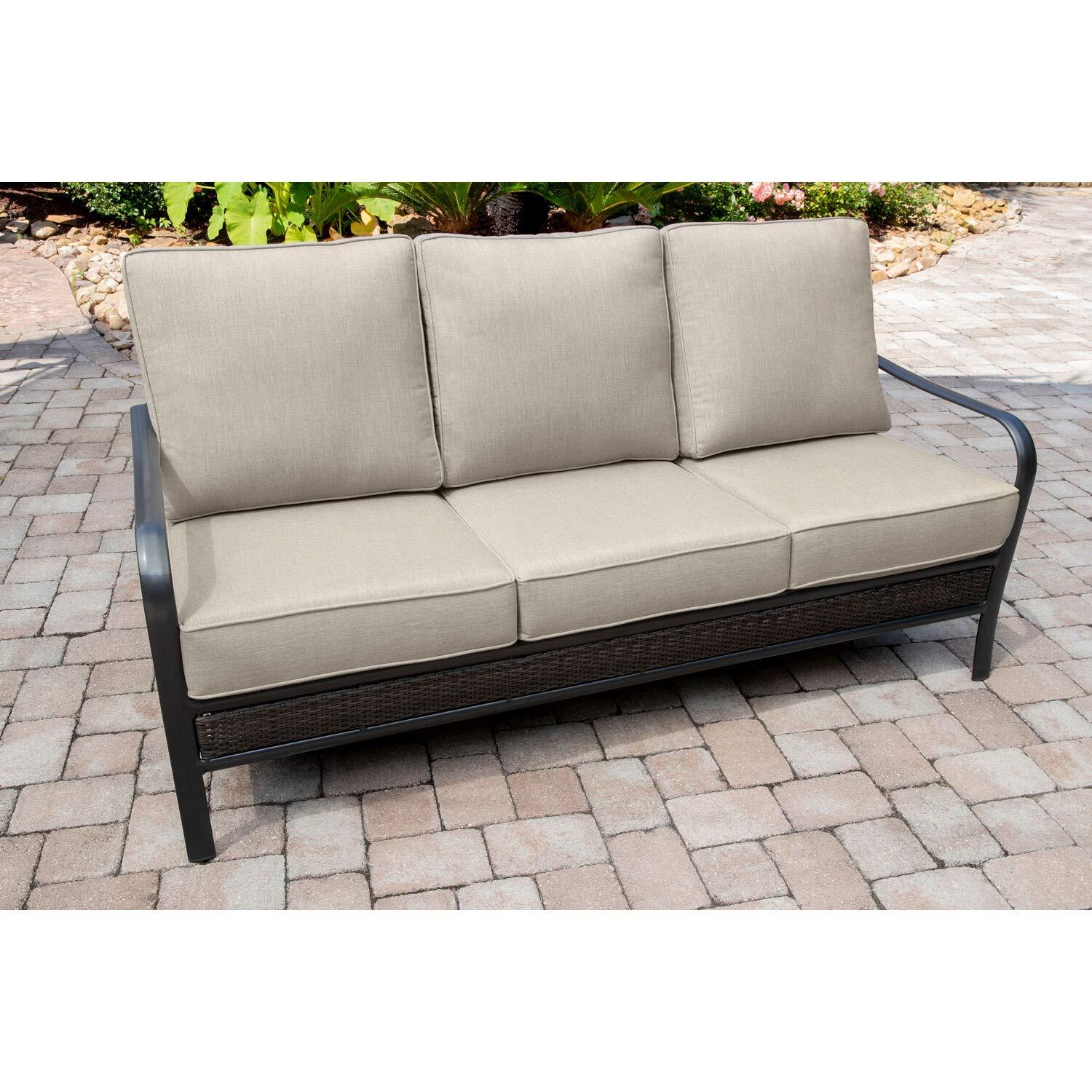 Amazon Com Hanover Oakmont Grade Aluminum Woven Sofa With Plush
