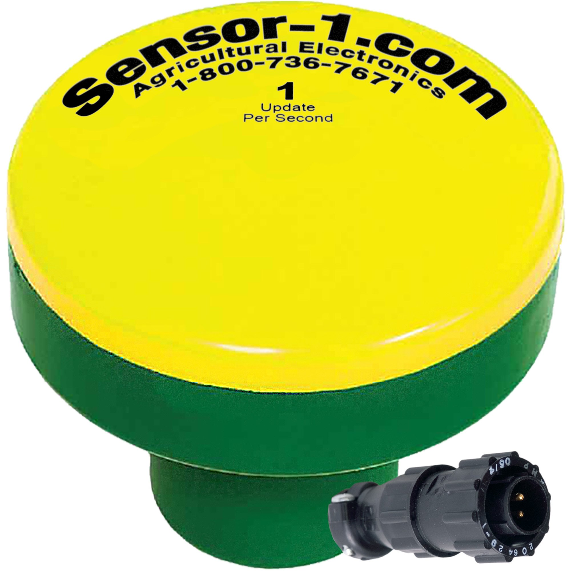 Sensor-1 DS-GPSM-D1-Y/G 1 Hz GPS Speed Sensor, Yellow Top and Green Stem Housing with 4 Pin Amp Connector by Sensor-1