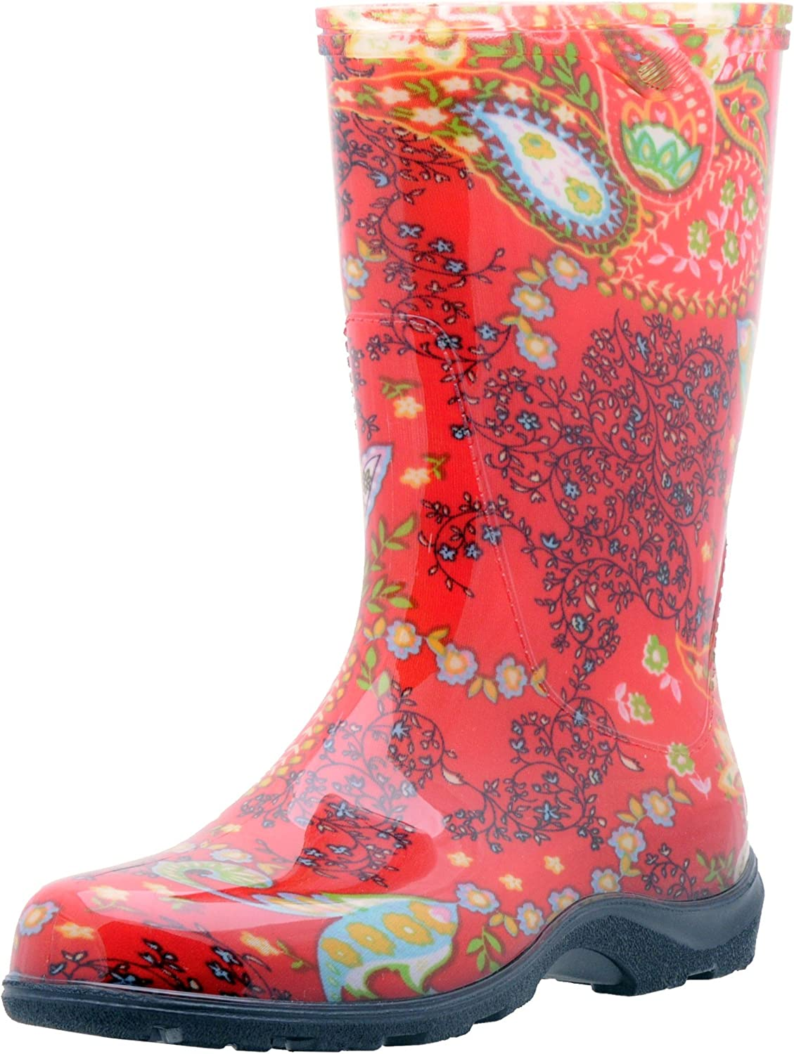SloggersWomen's Waterproof Rain and Garden Boot with Comfort Insole, Paisley Red, Size 6, Style 5004RD06