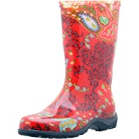 Sloggers Women's Waterproof Rain and Garden Boot with Comfort Insole Paisley Red Size 9 Style 5004RD09