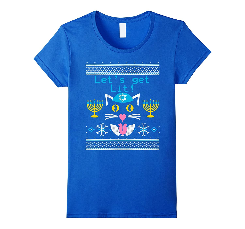 Let's Get Lit Funny Hanukkah Cat Lover T-Shirt