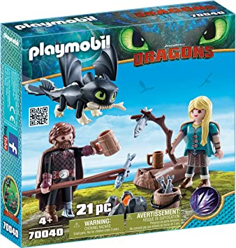 Playmobil Harold Et Astrid Avec Un Bébé Dragon 70040