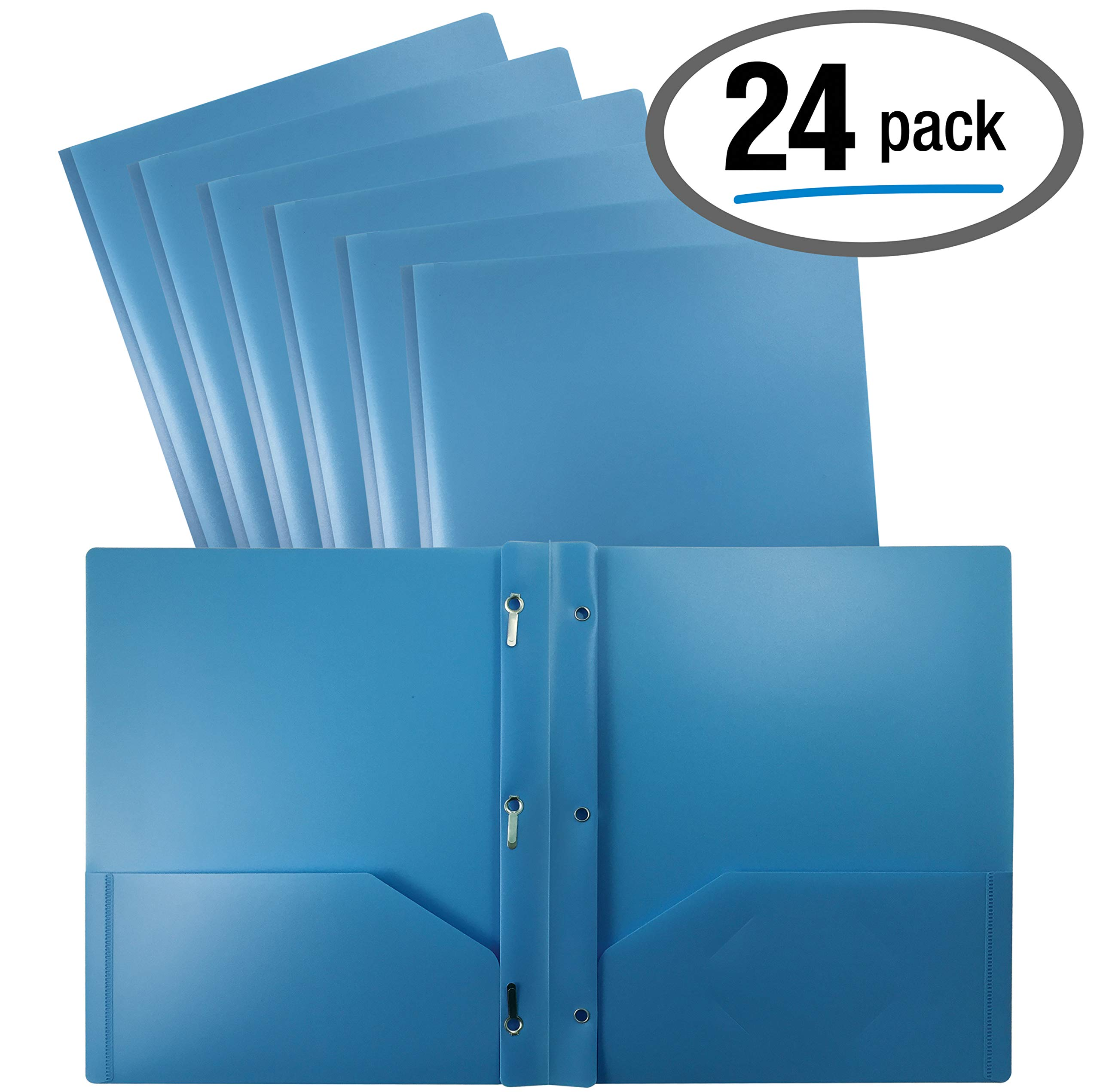 Better Office Products Light Blue Plastic 2 Pocket Folders with Prongs, 24 Pack, Heavyweight, Letter Size Poly Folders with 3 Metal Prongs Fastener Clips, Light Blue by Better Office Products