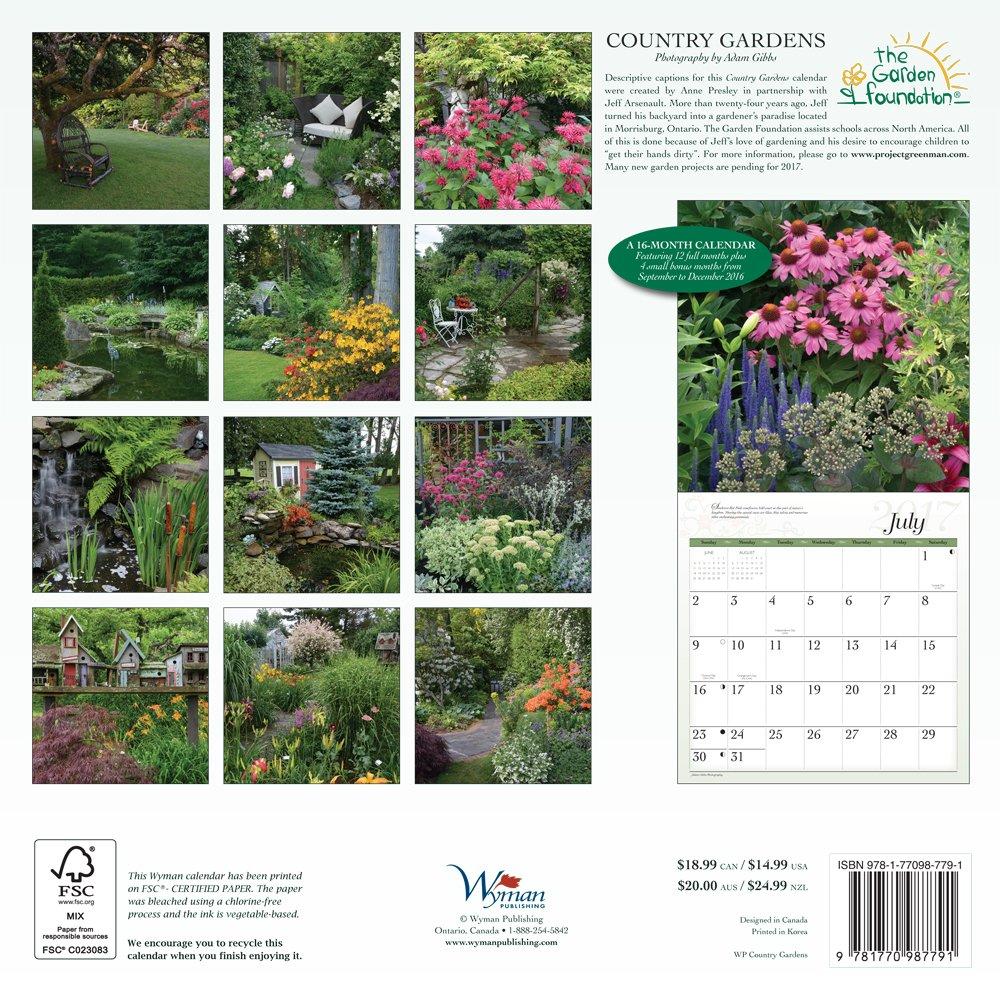 country gardens 2016 square 12x12 wall calendar