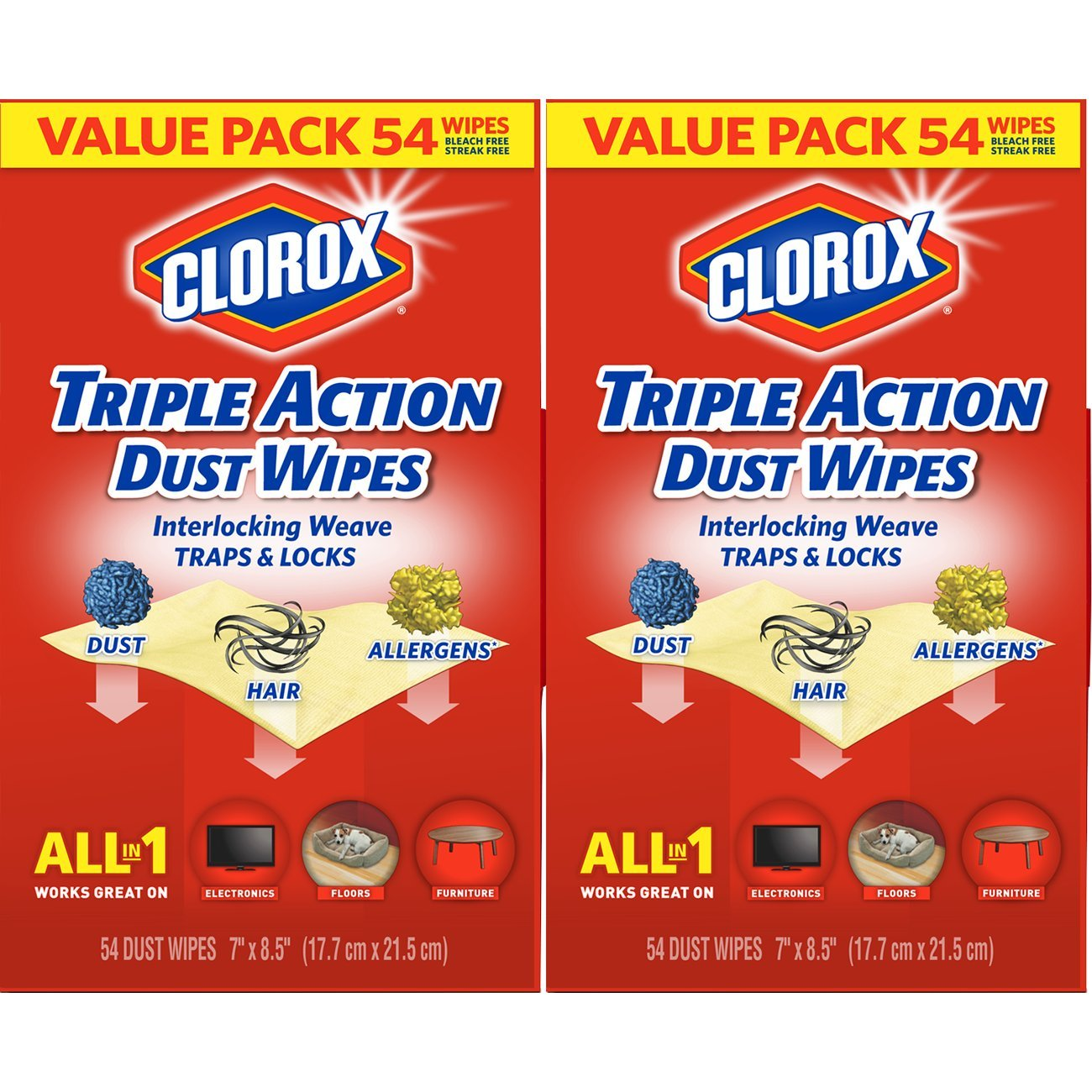 Clorox Triple Action Dust Wipes, Bleach Free Cleaning Wipes - 54 Count Each (Pack of 2) by Clorox Dust Wipes