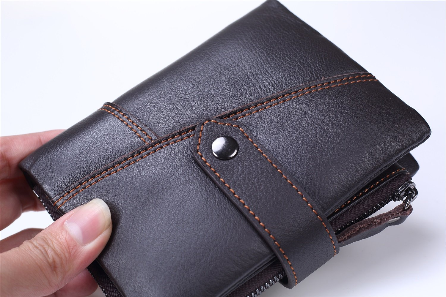 XINXI-MAO Cozy Mens Wallet Short The First Layer of Leather Handbag Zipper Change Holder Vertical Three-fold Wallet Backpack Color : Brown, Size : S