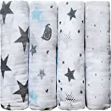 """""""Soothing Stars"""" – CuddleBug 100% Muslin Swaddle Blankets – 4 Pack – 47 inch x 47 inch – One Size – Best Baby Shower Gift - Perfect for Nursery Sets – Unisex – 4 Cute Prints – Lifetime Guarantee!"""