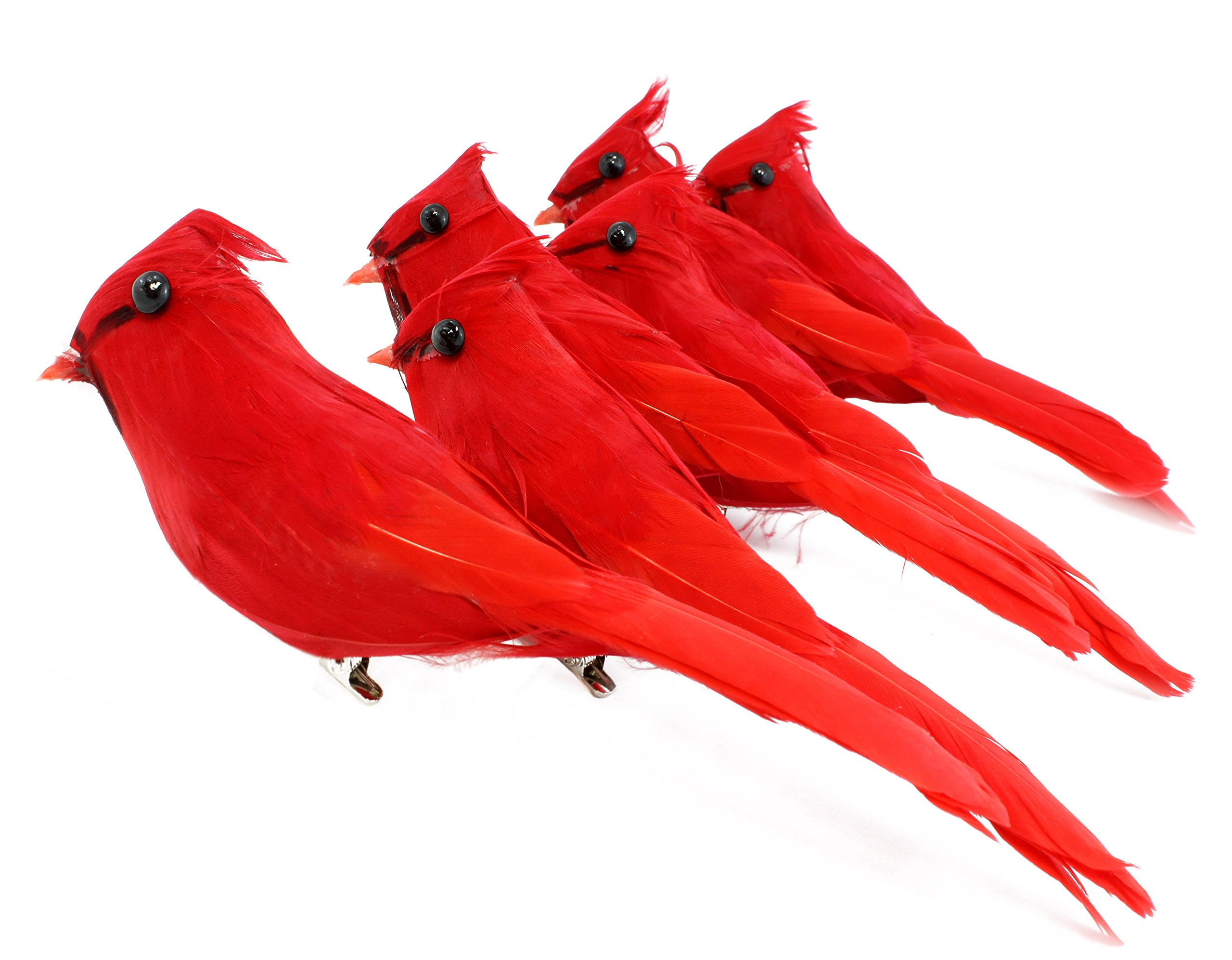 Cornucopia Brands Clip-On Realistic Feathered Red Cardinals (6 Pack), 3'' Tall Birds; Great for Christmas Decorations, Ornaments, Winter Theme, Wreaths Etc