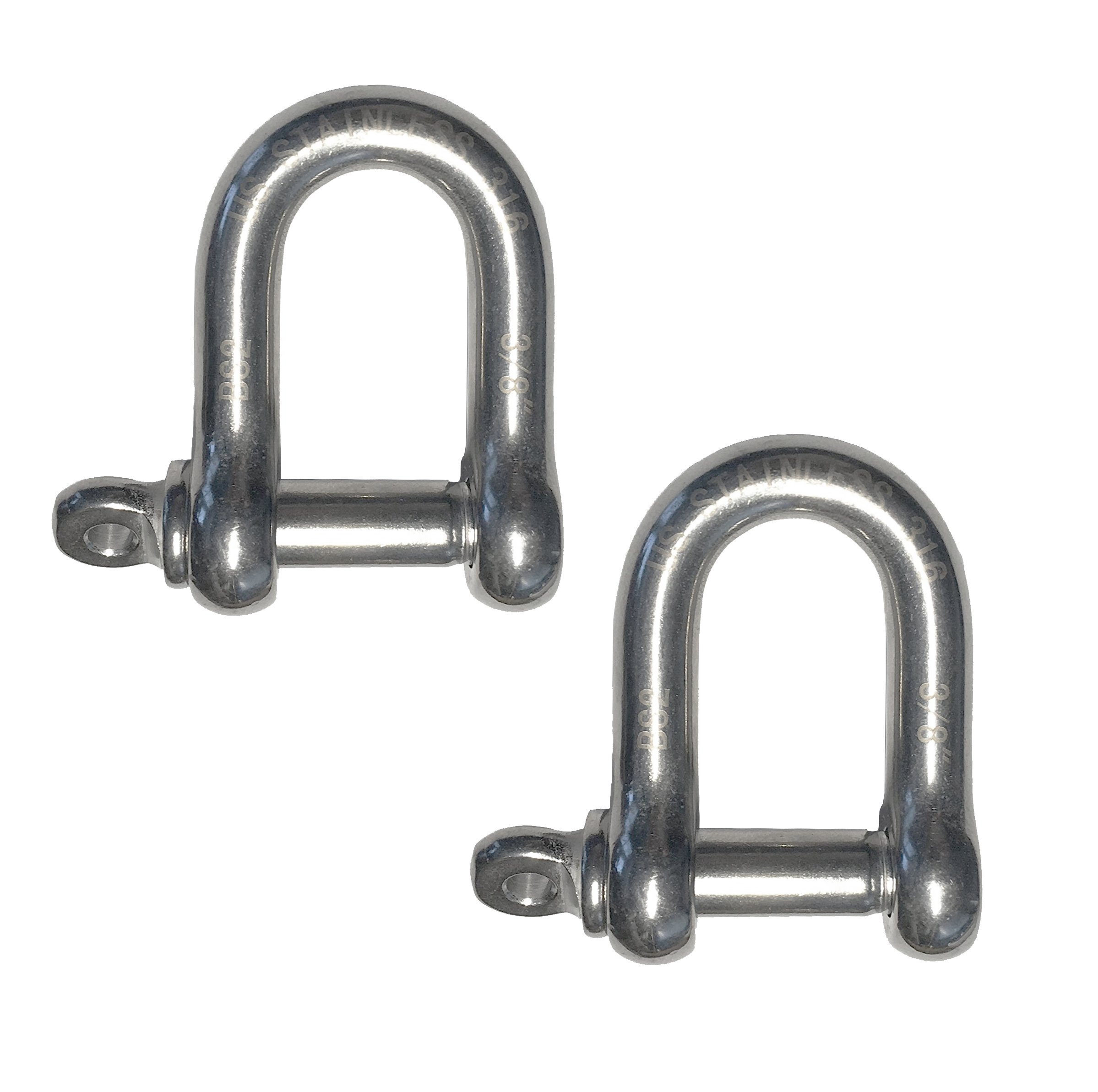 2 Pieces Stainless Steel 316 Forged D Shackle Marine Grade 3/8'' (10mm) Dee