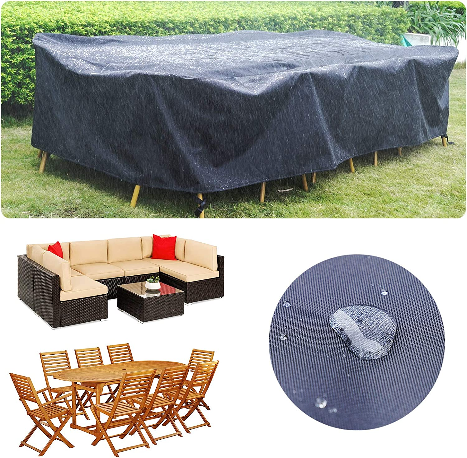 "118 Inch Patio Furniture Cover for Outdoor Snow Protection Waterproof Patio Table Chair Cover Rectangular UV Resistant Durable Sectional Sofa Protective Cover (118"" L x 57.8"" W x 27.5"" H)"