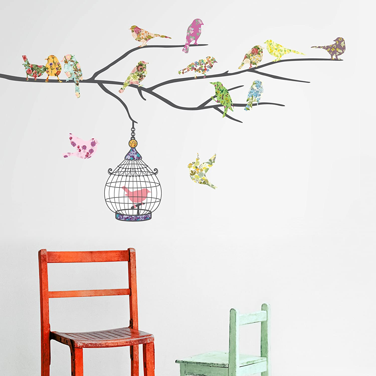 Decowall dw 1202 14 birds on a branch kids wall stickers wall decowall dw 1202 14 birds on a branch kids wall stickers wall decals peel and stick removable wall stickers for kids nursery bedroom living room amipublicfo Images