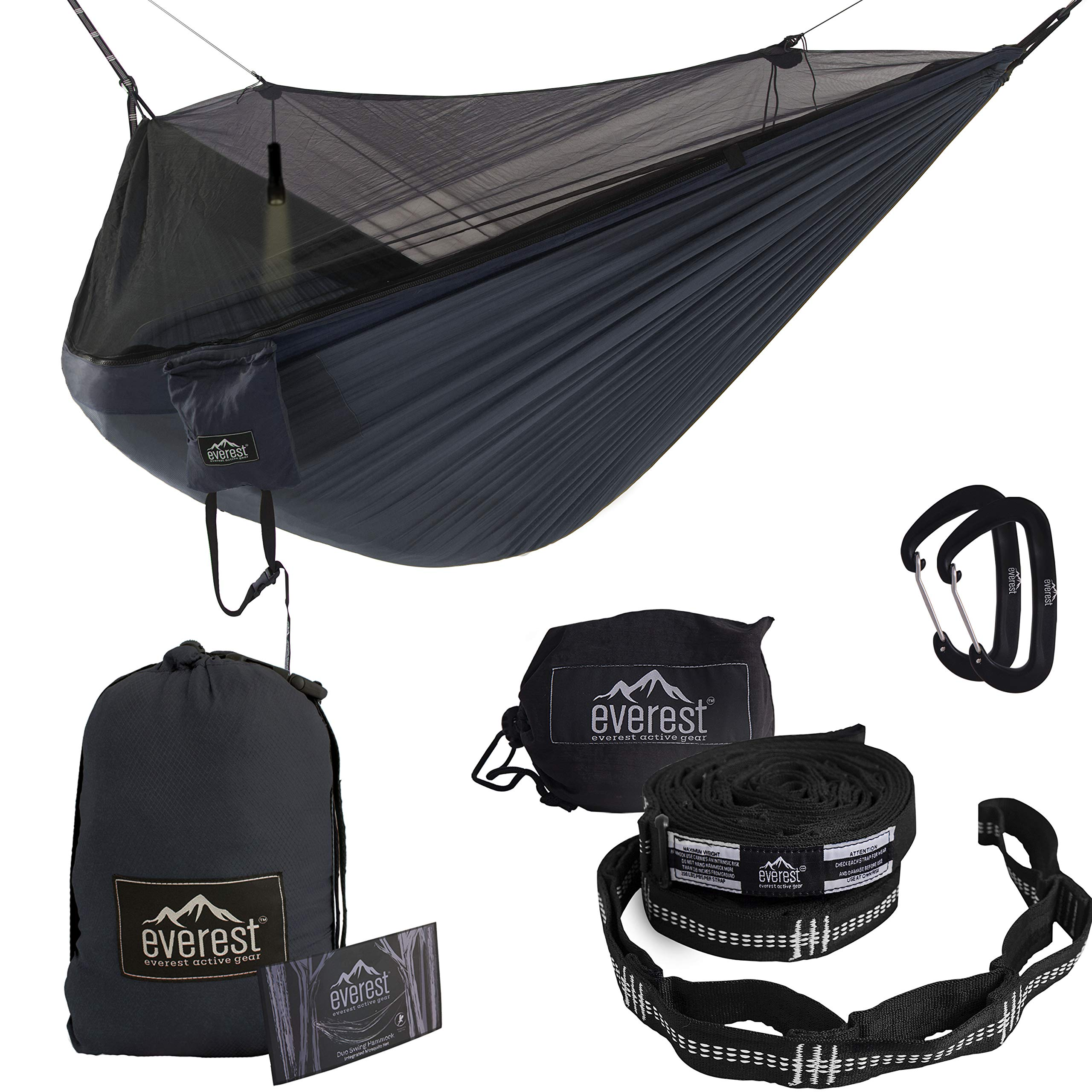 Everest Double Camping Hammock with Mosquito Net   Bug-Free Camping, Backpacking & Survival Outdoor Hammock Tent   Reversible, Integrated, Lightweight, Ripstop Nylon   Navy/Charcoal/Net Black