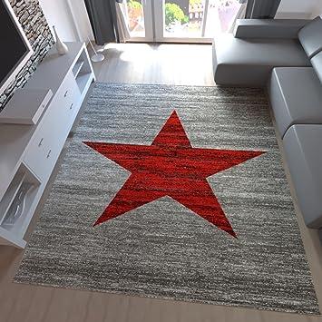 Teppich Home Kurzflor Teppich Wohnzimmer Stern Muster Meliert Rot. Schwarz,  Beige Grau Pflegeleicht