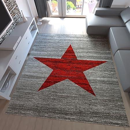 Teppich Home Kurzflor Teppich Wohnzimmer Stern Muster Meliert Rot