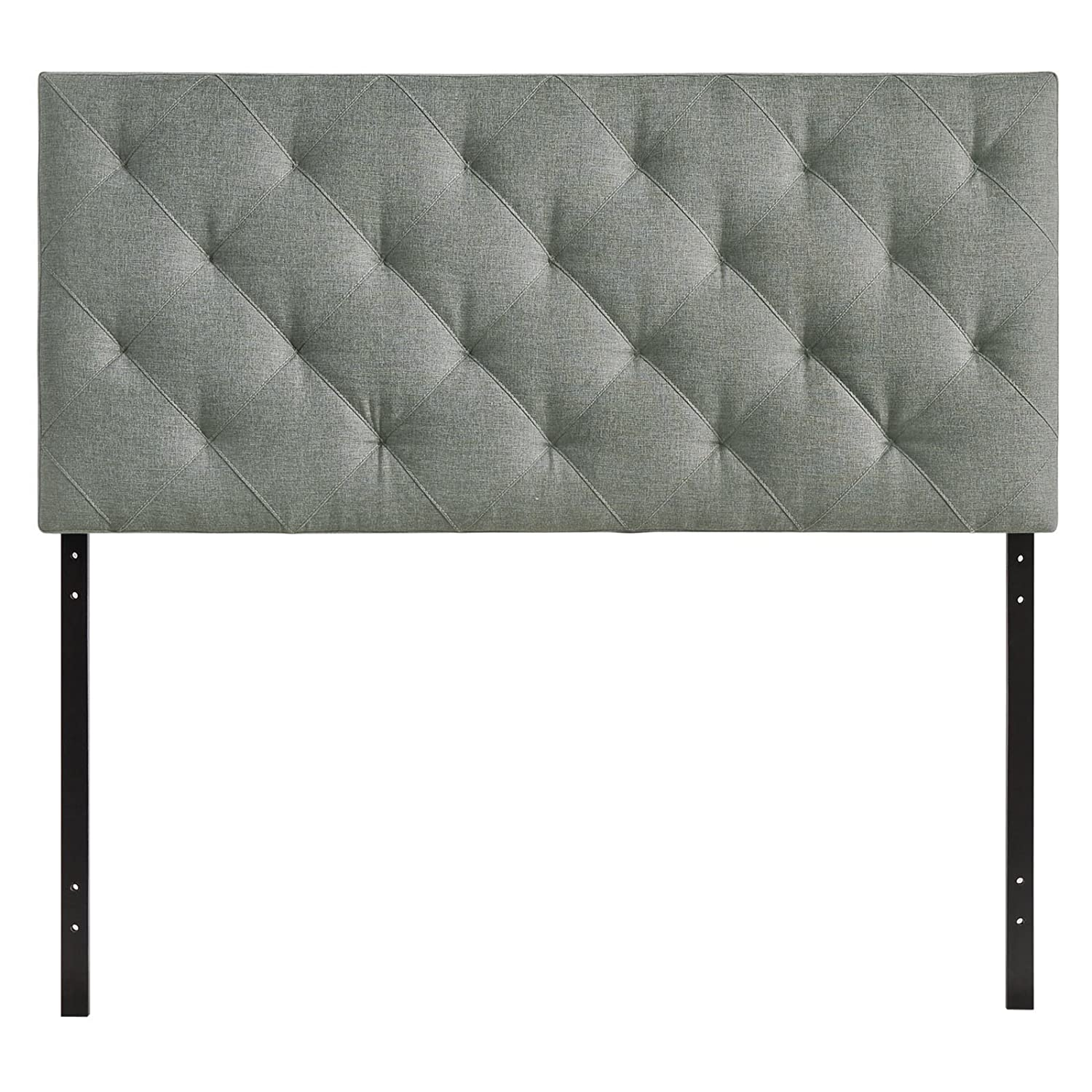 amazoncom modway theodore upholstered fabric tufted headboard in gray queen size