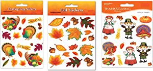 Fall Harvest Happy Thanksgiving Autumn Maple Leaf Turkey Wall Window Stickers (Pack of 3 Set, 212 Stickers Total) Bulk Stickers for Craft, Invitation Sealers, Dinner Party Decor