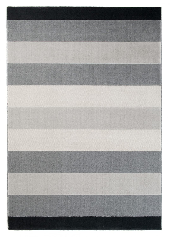 Tapiso Canvas Modern Teppich Kurzflor Designer Jugendteppich in Grau Creme mit Streifen Linien Muster Perfekt für Wohnzimmer, Jugendzimmer ÖKOTEX 140 x 200 cm