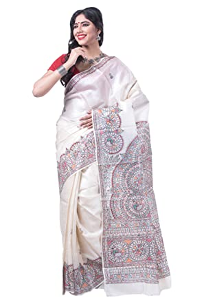 7e939215bfc Silk Ghar Cream Color Pure Tasser Silk Saree with Traditional Madhubani  Hand Painting  Amazon.in  Clothing   Accessories