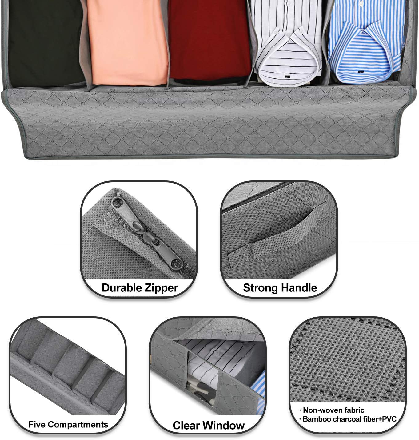Bolsa Organizadora de 5 Compartimientos con Ventanilla Transparente para Debajo de la Cama Zapatos Magicfly Bolsa de Almacenamiento Bajo la Cama para Ropa Ropa de Cama