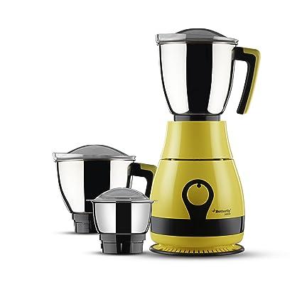 Butterfly Pebble 600-Watt Mixer Grinder with 3 Jars (Yellow) Juicer Mixer Grinders at amazon