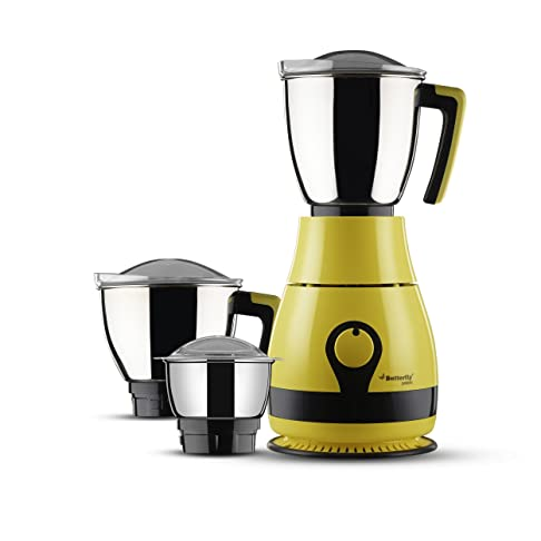 Butterfly Pebble 600-Watt Mixer Grinder with 3 Jars (Yellow) Juicer Mixer Grinders at amazon