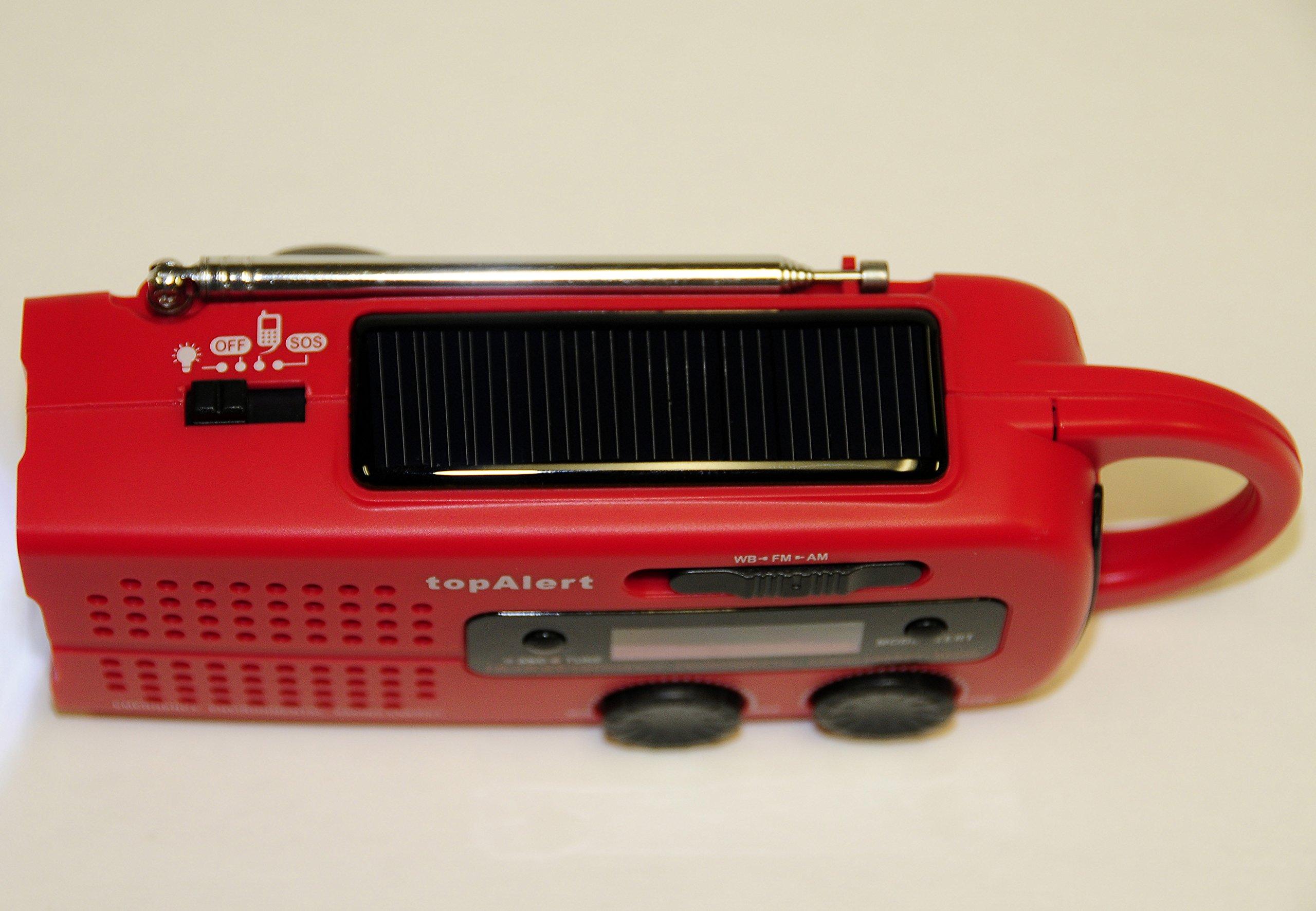 topAlert MD-019 Emergency Solar Hand Crank Weather Alert Radio