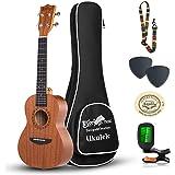 Everjoys Concert Ukulele Mahogany - 23 inch Professional Wooden Ukelele Free Online Lesson Uke Strap Case Digital Tuner picks