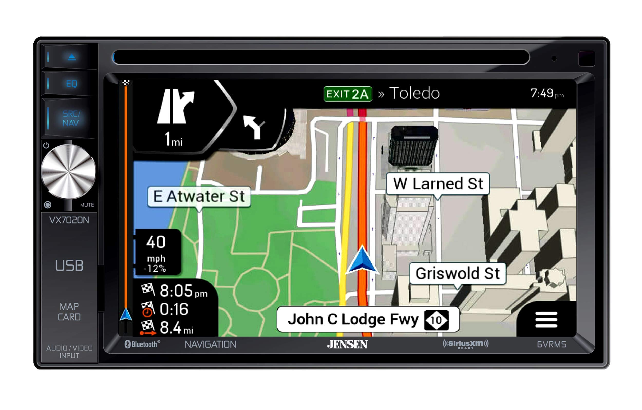 Jensen VX7020N 6.2-inch LED Backlit LCD Multimedia Touch Screen Double DIN Car Stereo with Built-In Navigation, Bluetooth, CD/DVD Player & SiriusXM-Ready