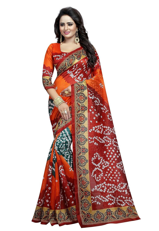5b717451eb0 Ishin Women s Silk Saree With Blouse Piece  (Swrya-Dd-Bandhani17 Multicolor)  Amazon.in  Clothing   Accessories