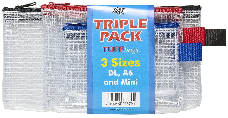 DL-A6-mini confezione da 1 custodie Confezione tripla borsellini Tuff trasparenti rinforzati portadocumenti con cerniera astucci resistenti allacqua