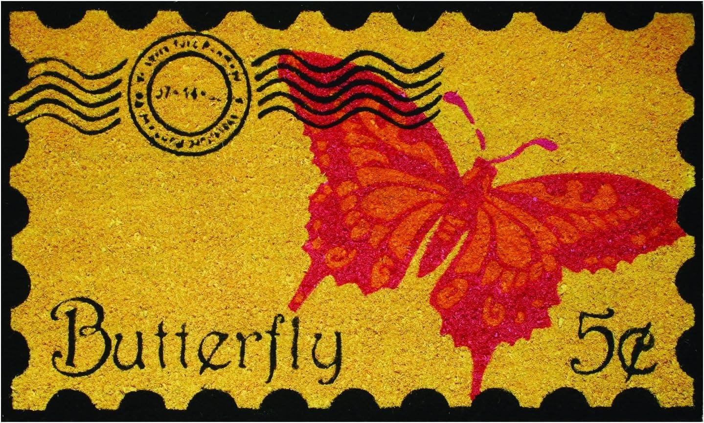 Robert Allen Home & Garden Postage Butterfly Coir Doormat