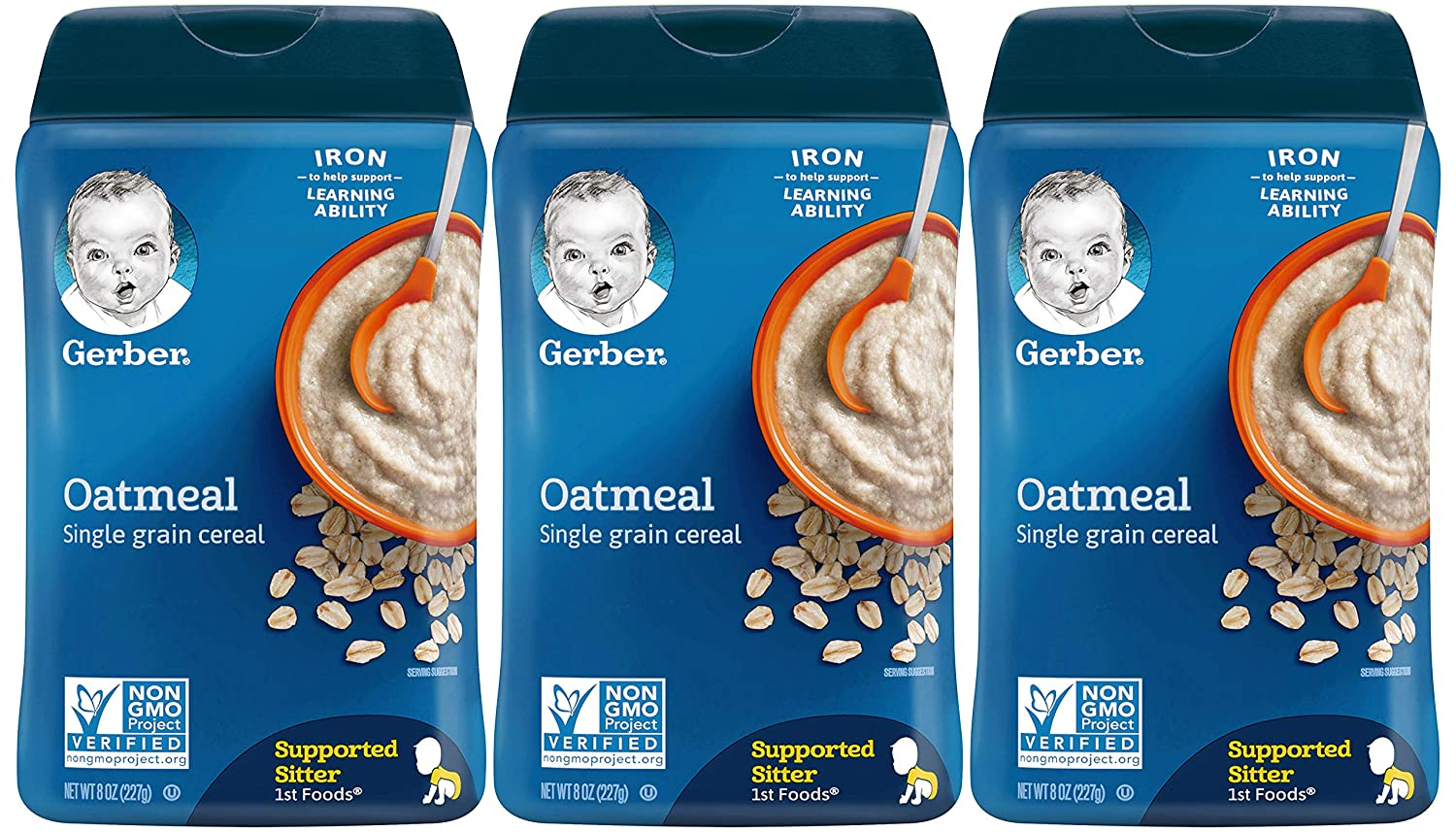 Gerber 1st Foods Baby Cereal, Oatmeal, 8 Ounce (Pack of 3)