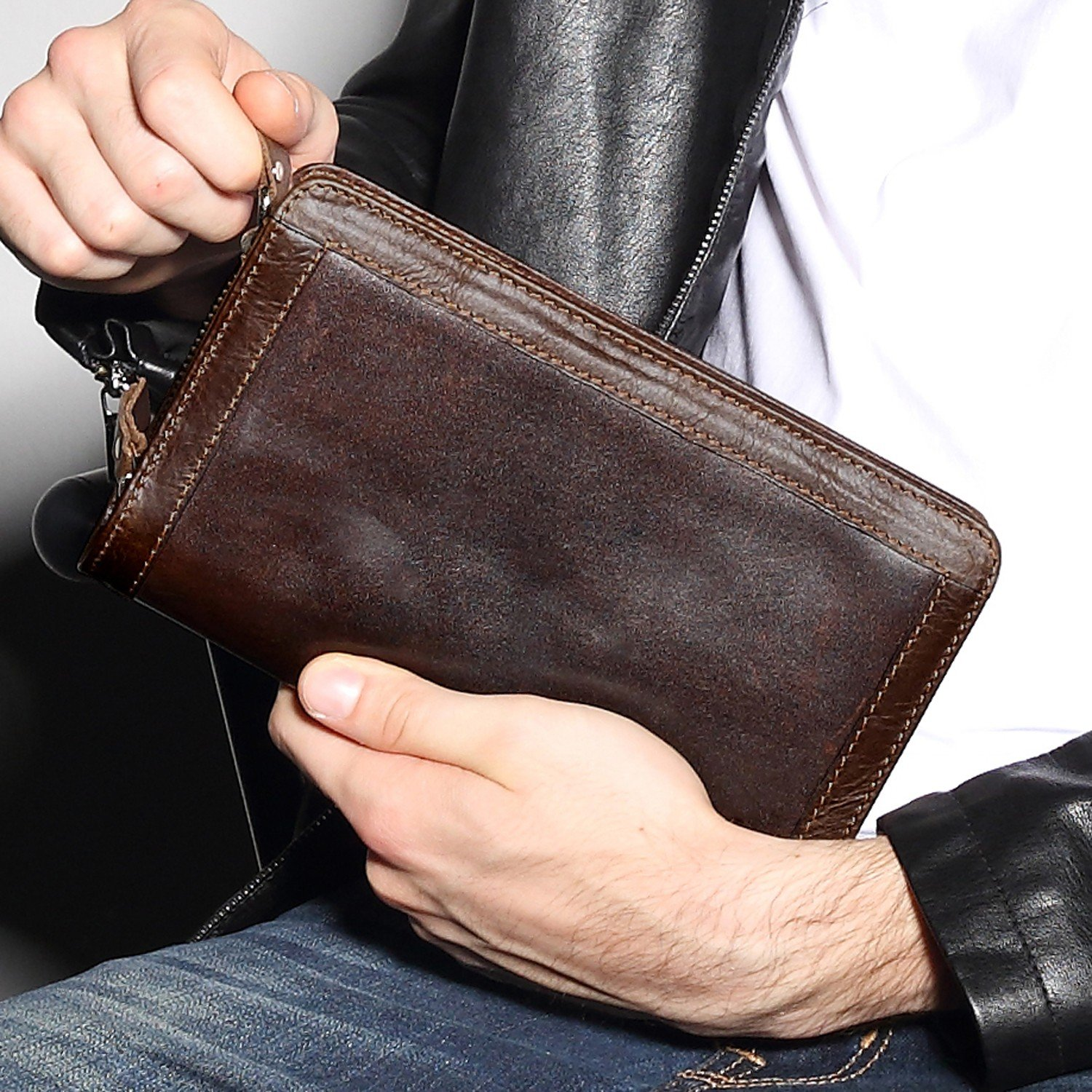 Paul /& Taylor Leather Checkbook Cover Wallet Red