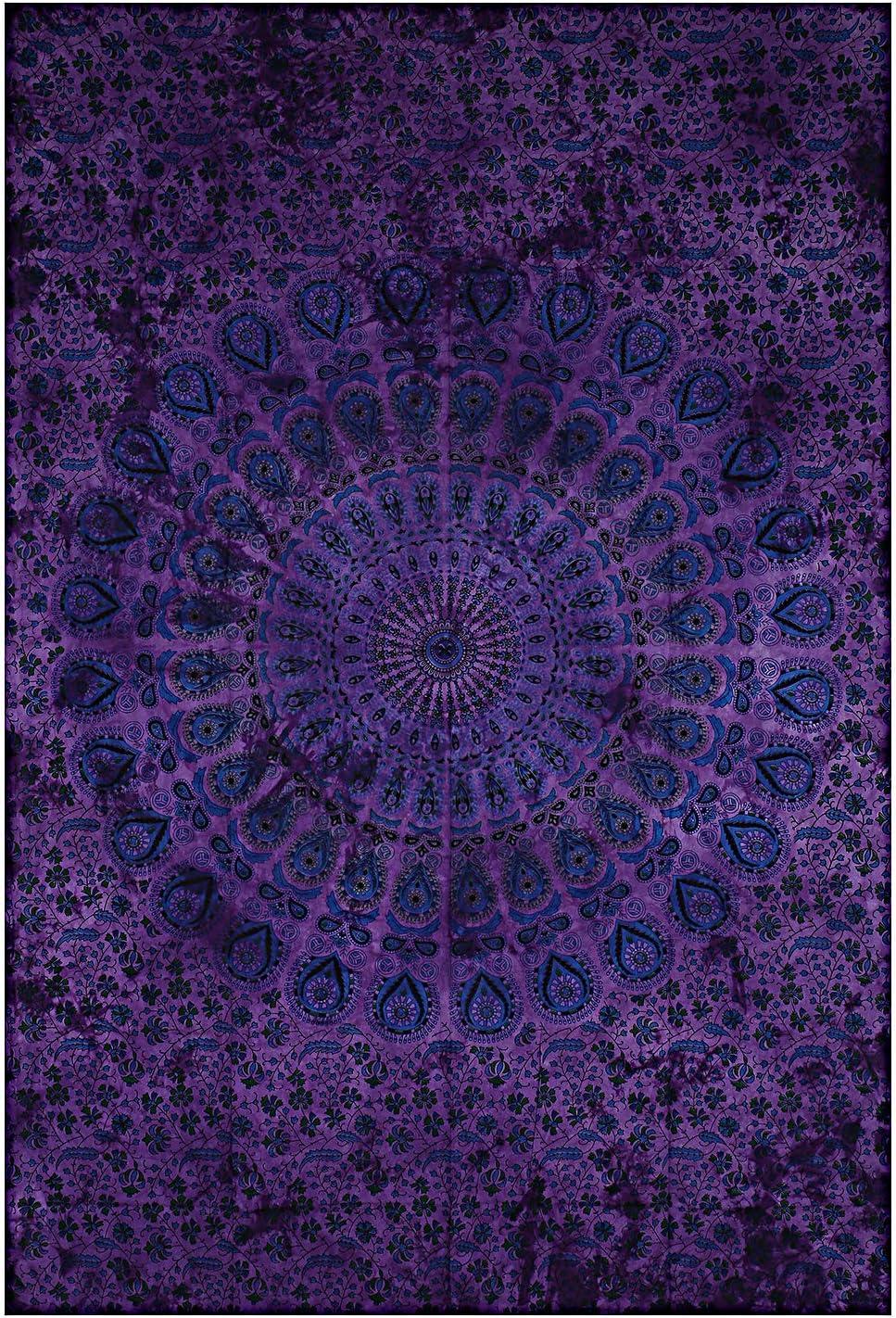 Montreal Tappassier Indian Wall Decor Hippie Tie Dye Tapestries Bohemian Mandala Tapestry Wall Hanging Throw (Purple Dye)