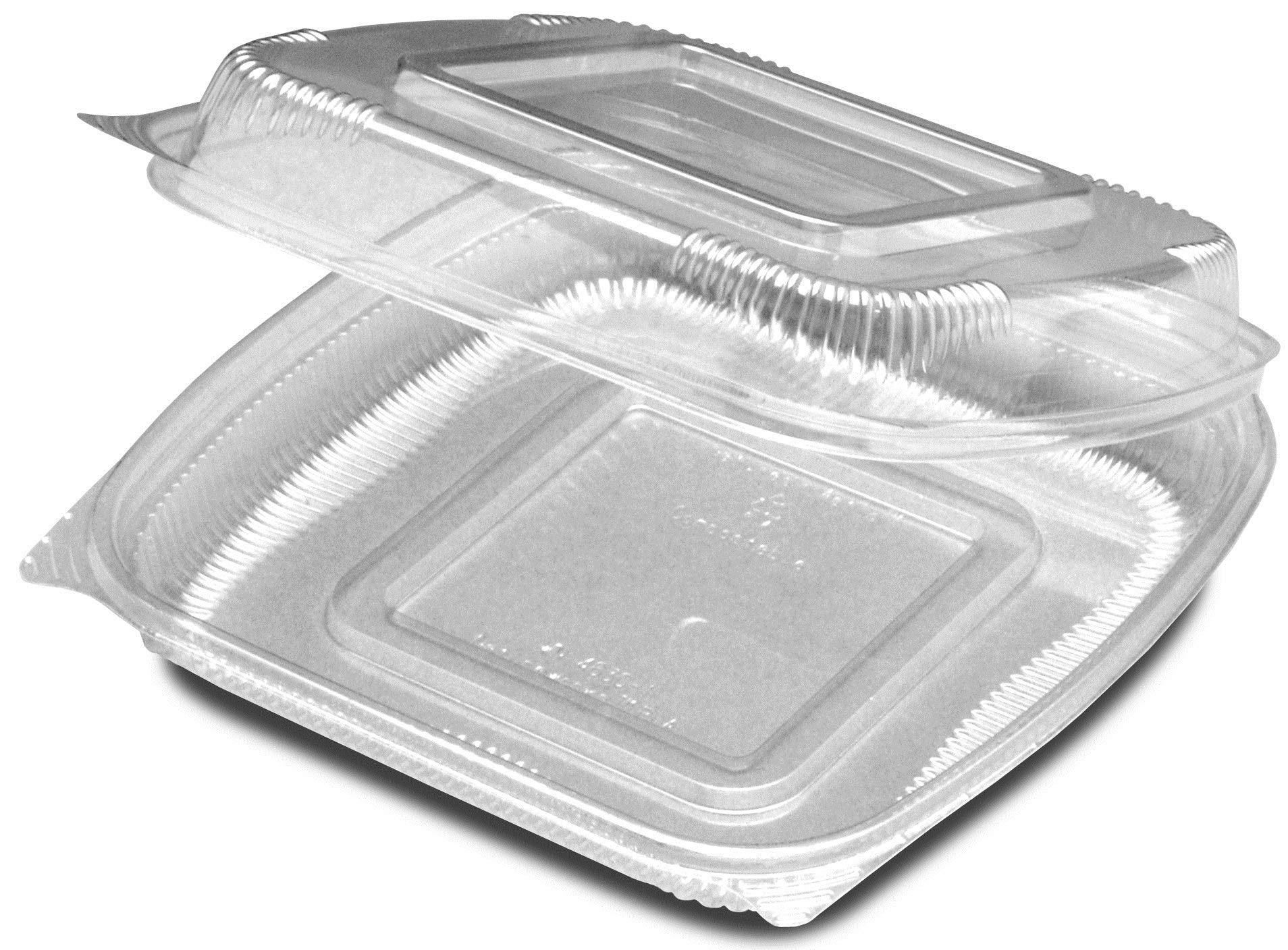 Seeshell Plastic Clear Medium Shallow Hinged Container - 160 per case.