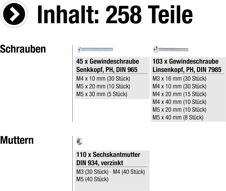 Din 934 Din 985 schwarz verzinkt Sortimentskasten 200 Teile