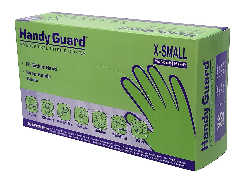 Box of 100 Blue, X-Small Adenna Handy Guard 5 mil Nitrile Powder Free Gloves